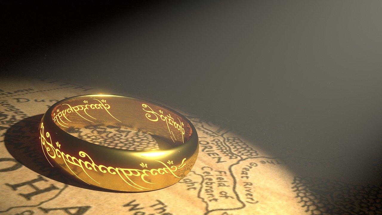 보물 반지 금 중간 지구 황금 반지 금속 지도 보석 주님 톨킨