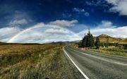 레인 보우 도 아름 다운 풍경 국가로 시골 푸른 하늘 구름 하늘 거리 무지개 도로