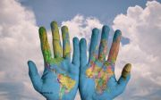 world map global earth hand