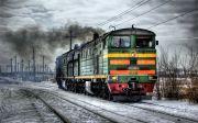 러시아 횡단열차 Locomotive Diesel Russia Train Traffic Smoke
