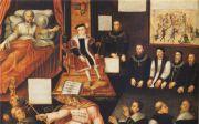 """1570년대, 종교개혁의 밝은 희망이 담긴 그림. 런던 국립박물관. 침대에 누워서 손가락으로 에드워드 6세를 차기 왕으로 지목하는 헨리 8세. 그 우측에는 에드워드 세이무어 경과 주요 인물들이 단정한 모습으로 앉아있다. 그들 머리 위로 벽에는 로마 가톨릭의 성상과 우상들을 부수는 모습이 보인다. 새 왕의 발 앞에는 목이 꺾어진 교황의 머리 위로 성경이 펼쳐져 있는데, """"주의 말씀은 세세토록 있도다""""(벧전 1:25)가 쓰여있다. 좌측 끝에는 혼비백산해서"""