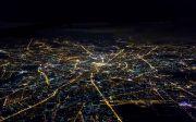 모스크바 밤 지도 기 전망 공기 항공 비행기 도시 창 고도