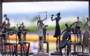 오케스트라 동상 조각 정원 관광 꽃밭 야외 악기 연주